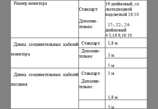 Размер монитораСтандарт:19-дюймовый, со свотодиодной подсветкой 16:10Дополни-тельно:17-, 22-, 24-дюймовый 4:3,16:9,16:10Длина соединительных кабелей монитора Стандарт:1,8 м Дополни- тельно:3 м 5 м Длина соединительных кабелей питания Стандарт:3 м Дополни- тельно:1,8 м 3 м 5 м