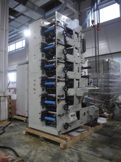 Фотография флексографской печатной машины AtlasFlex-320 со стороны печатных секций (6 секций)